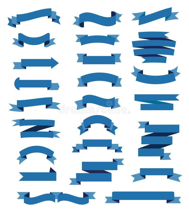 五颜六色的蓝色丝带集合 向量例证