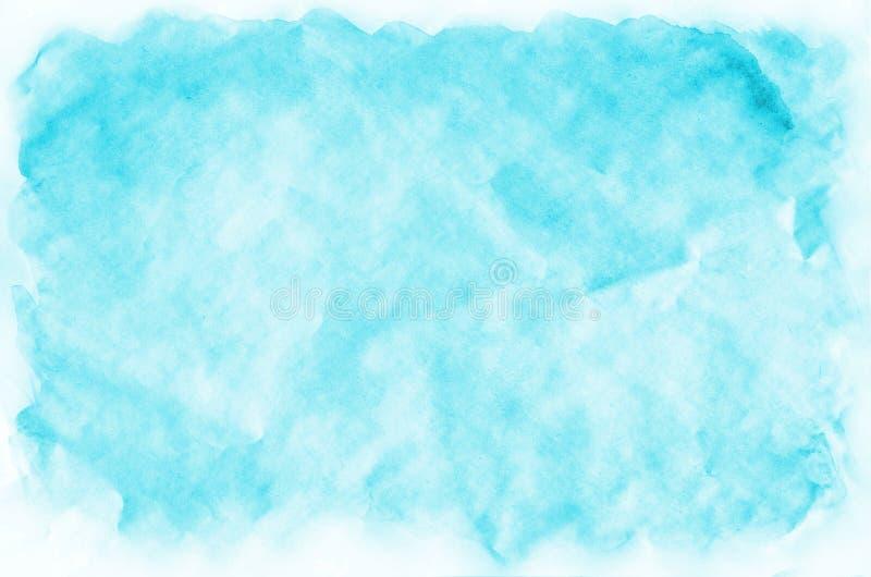 五颜六色的蓝色墙纸的,卡片水彩湿刷子油漆液体背景 水彩画明亮的颜色摘要手拉的纸t 免版税库存照片