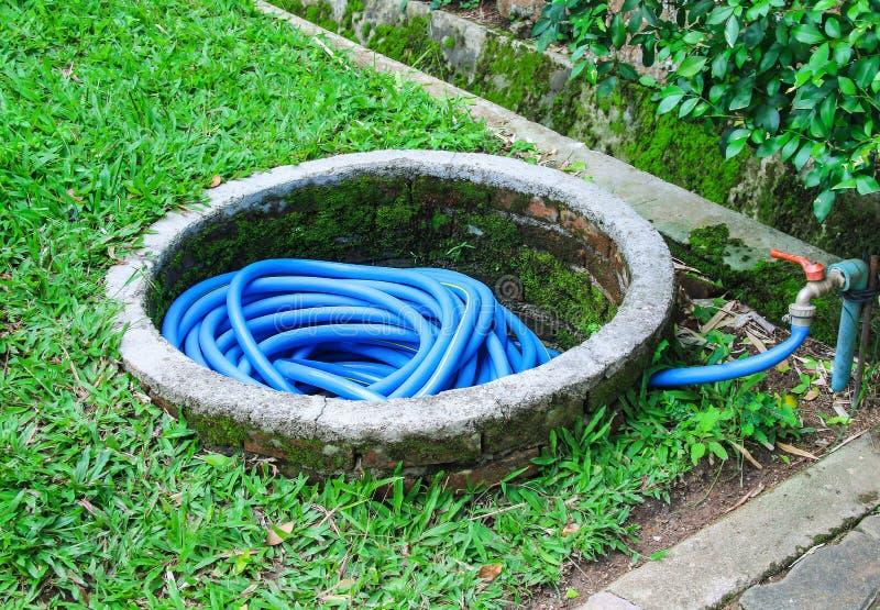 五颜六色的蓝色水管的浇灌的花和树存贮在庭院里 库存图片