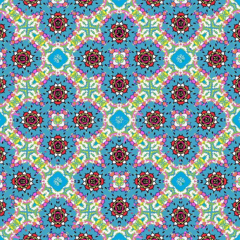 五颜六色的蓝色,红色和绿色花卉对称重复的样式 库存例证