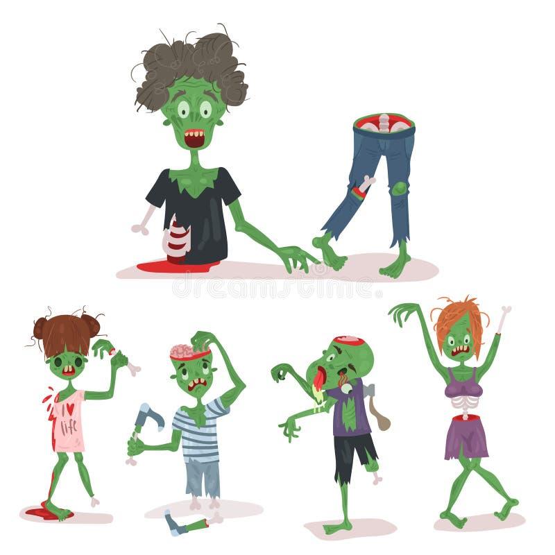 五颜六色的蛇神可怕动画片元素万圣夜不可思议的人身体乐趣小组逗人喜爱的绿色性质部分妖怪传染媒介 皇族释放例证