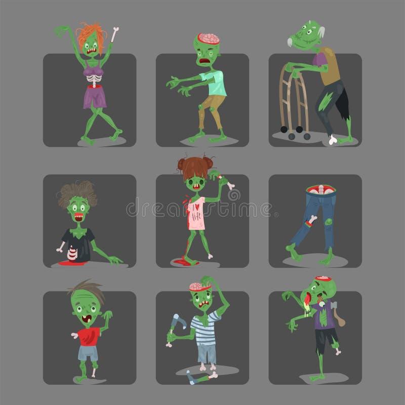 五颜六色的蛇神可怕动画片拟订万圣夜不可思议的人身体乐趣小组逗人喜爱的绿色性质部分妖怪传染媒介 库存例证