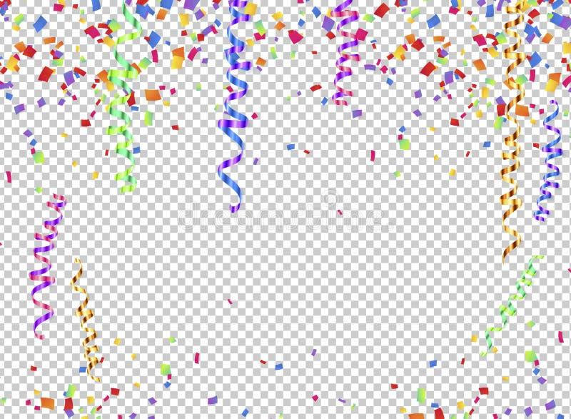 五颜六色的蛇纹石和五彩纸屑在透明背景,透明度栅格模仿 向量例证