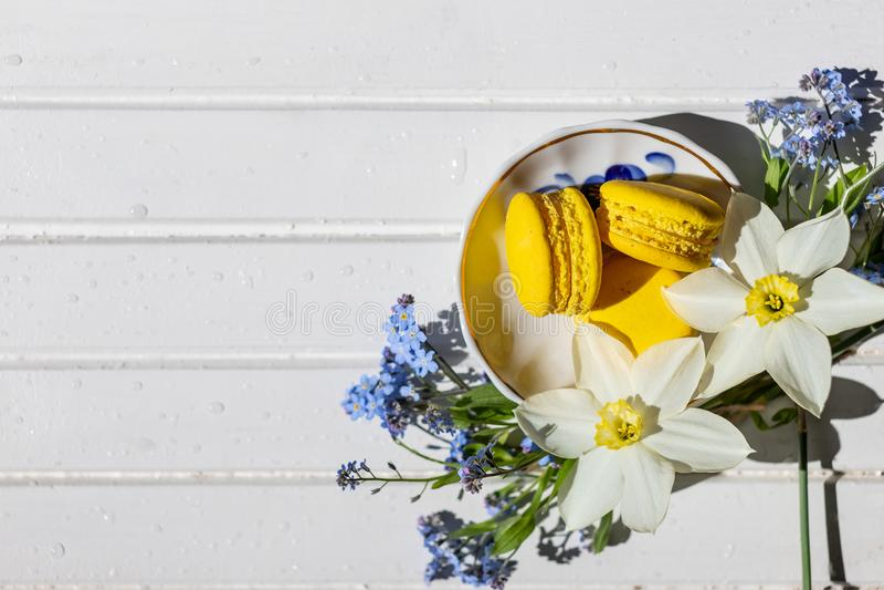 五颜六色的蛋白杏仁饼干和花在白色木桌上 甜macarons 与拷贝空间的顶视图您的文本的 鲜美 免版税库存照片