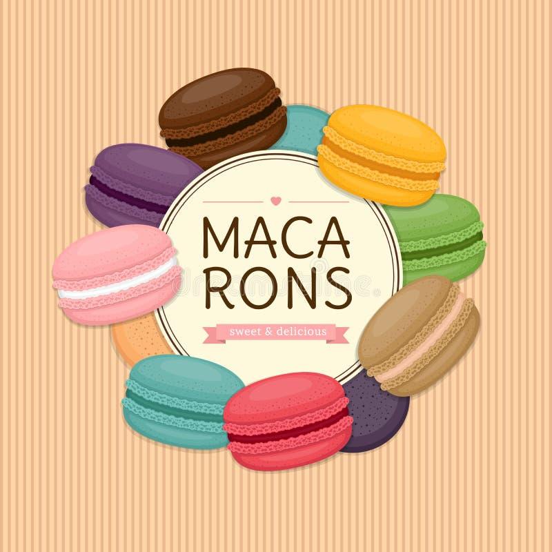 五颜六色的蛋白杏仁饼干圆的框架 另外蛋糕macaron 平的st 向量例证