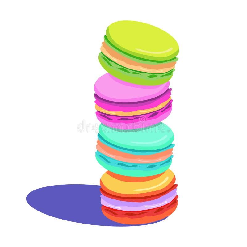 五颜六色的蛋白杏仁饼干设置与阴影 库存例证