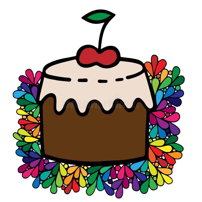 五颜六色的蛋糕用在华丽框架的樱桃 库存例证