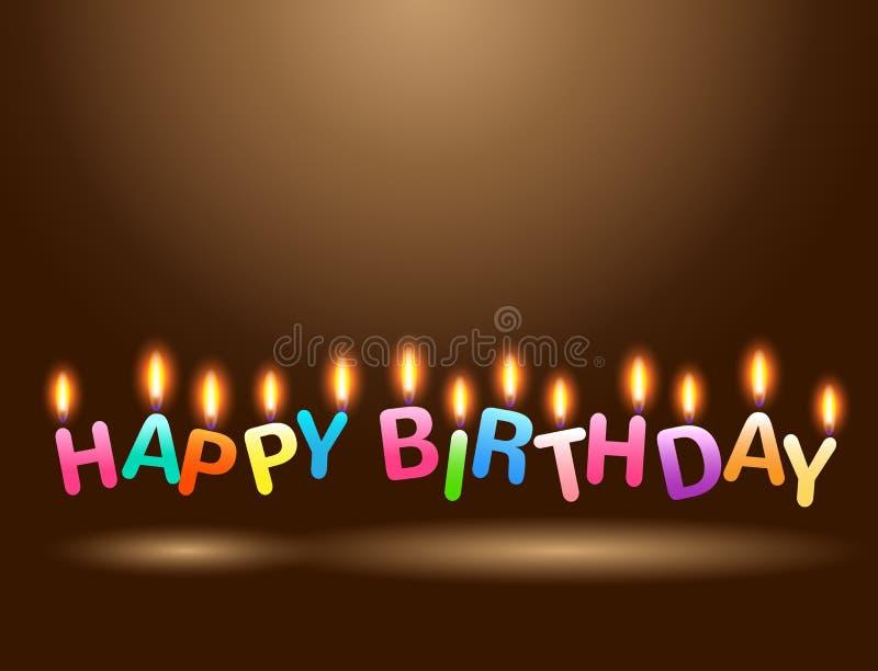 五颜六色的蜡烛生日快乐庆祝 库存例证