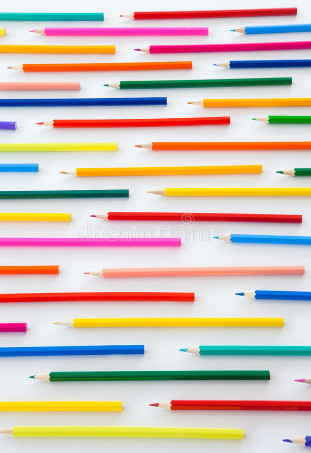 五颜六色的蜡笔平行线 免版税库存照片