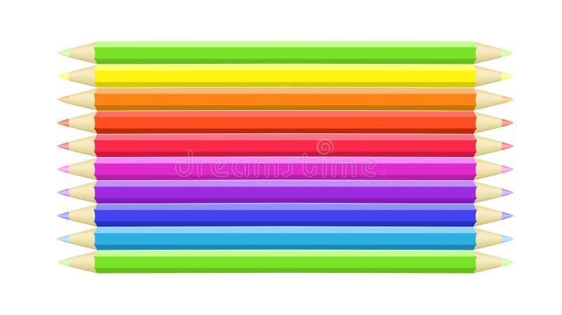 五颜六色的蜡笔 库存例证