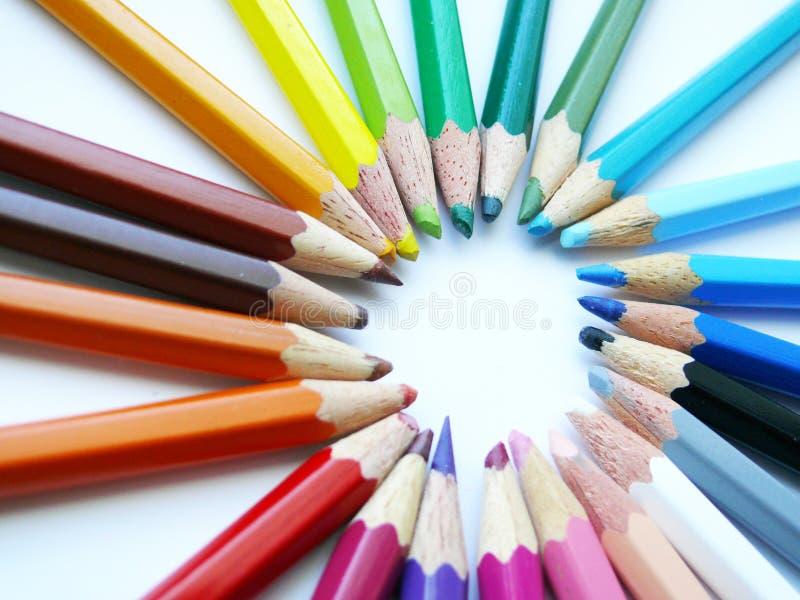 五颜六色的蜡笔 库存照片