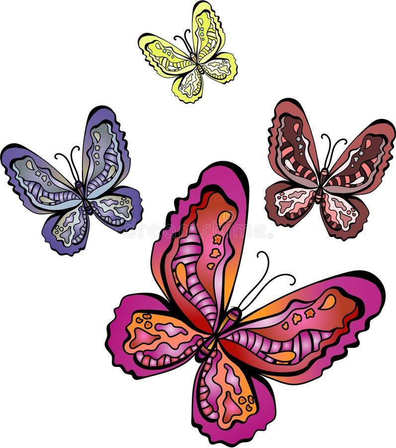 五颜六色的蝴蝶 库存例证