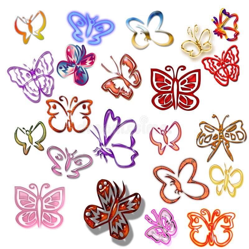 五颜六色的蝴蝶 向量例证