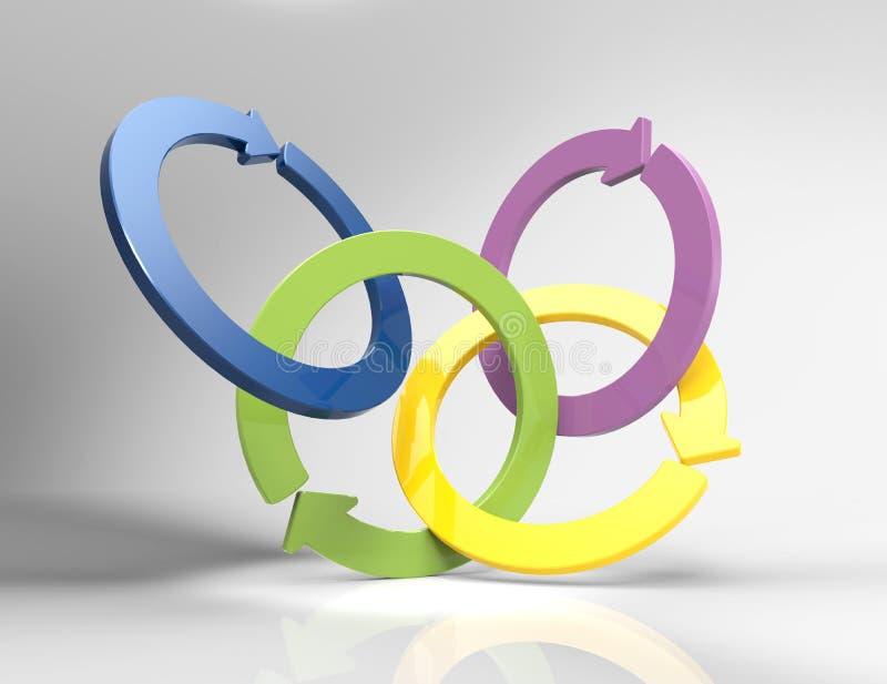 五颜六色的螺旋箭头3D infographic的要素 向量例证