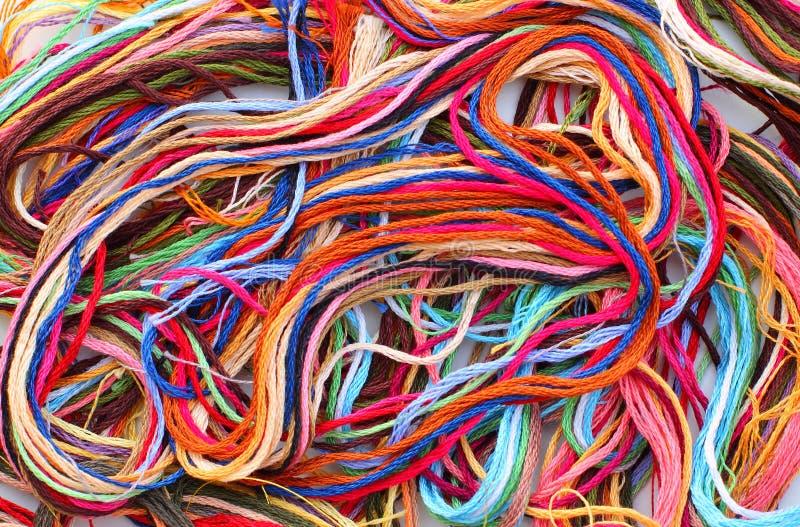 五颜六色的螺纹绣花丝绒 库存图片