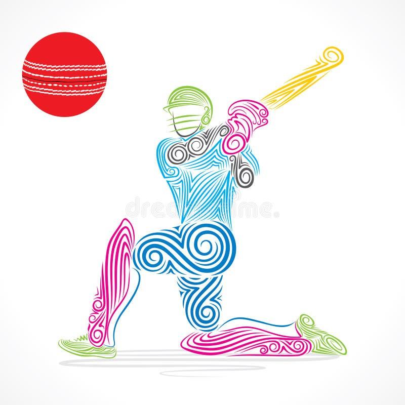 五颜六色的蟋蟀球员击中了大球,剪影设计 向量例证