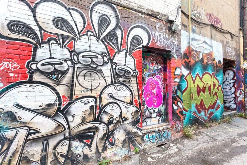 五颜六色的街道画在多伦多 库存照片
