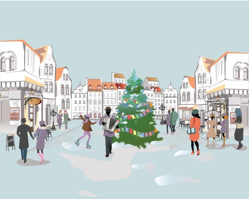 五颜六色的街道视图系列与人的在老城市在冬天 向量例证