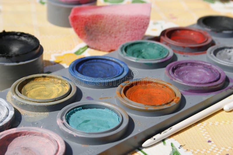 五颜六色的表面油漆 库存照片