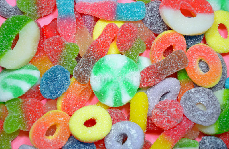 五颜六色的被分类的耐嚼的糖果 库存照片