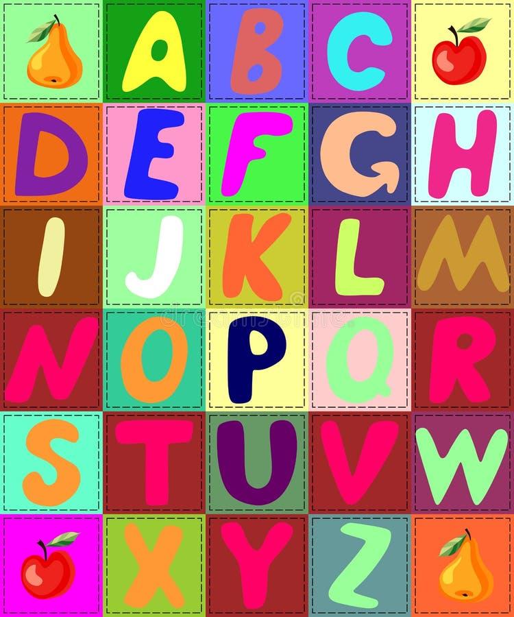 五颜六色的被子字母表 补缀品信件 皇族释放例证