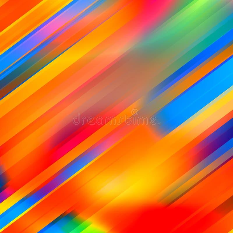 五颜六色的被弄脏的条纹背景 抽象颜色艺术 线作用 光滑的屏幕保护程序 春天色的光芒 Techno图象 皇族释放例证