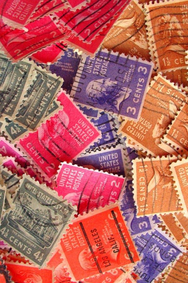 五颜六色的被盖邮戳的印花税葡萄酒 免版税库存图片