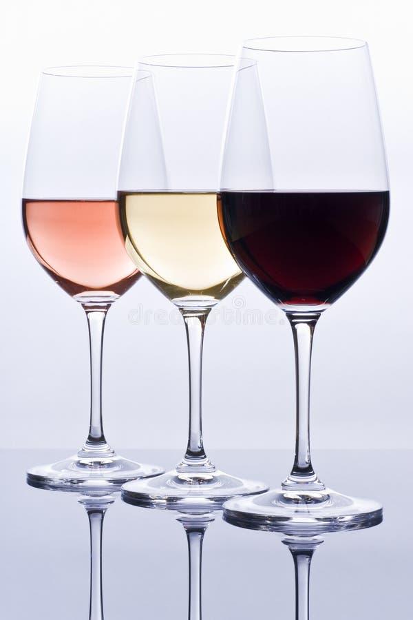五颜六色的被装载的酒葡萄酒杯 库存图片