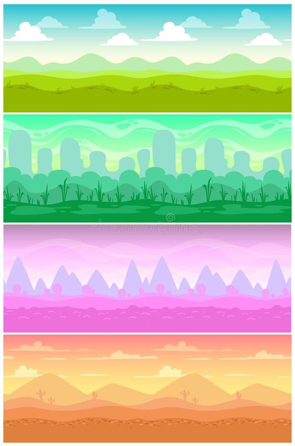 五颜六色的被设置的传染媒介无缝的风景 向量例证