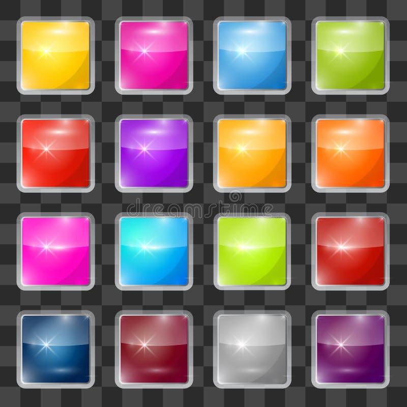 五颜六色的被设置的传染媒介正方形玻璃按钮 皇族释放例证