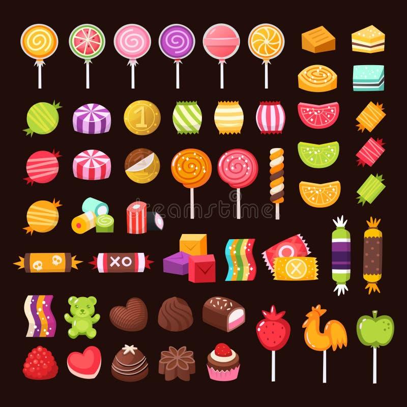五颜六色的被设置的甜点和糖果 向量例证