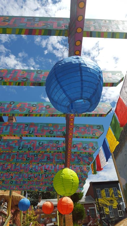 五颜六色的被绘的灯笼 免版税库存照片