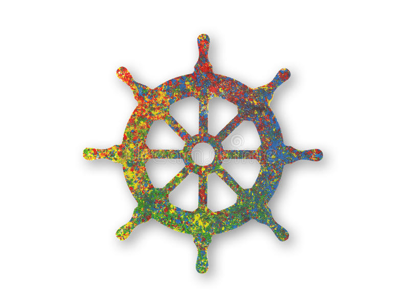 五颜六色的被绘的船舵标志 向量例证