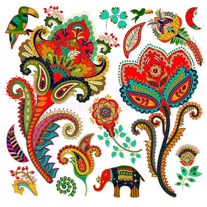 五颜六色的装饰要素 佩兹利,装饰花,鸟,大象 印第安装饰品 向量例证