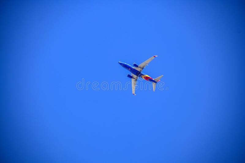 五颜六色的西南飞机飞行通过非常蓝色无云的天空-看法从下面-拷贝的室 库存图片