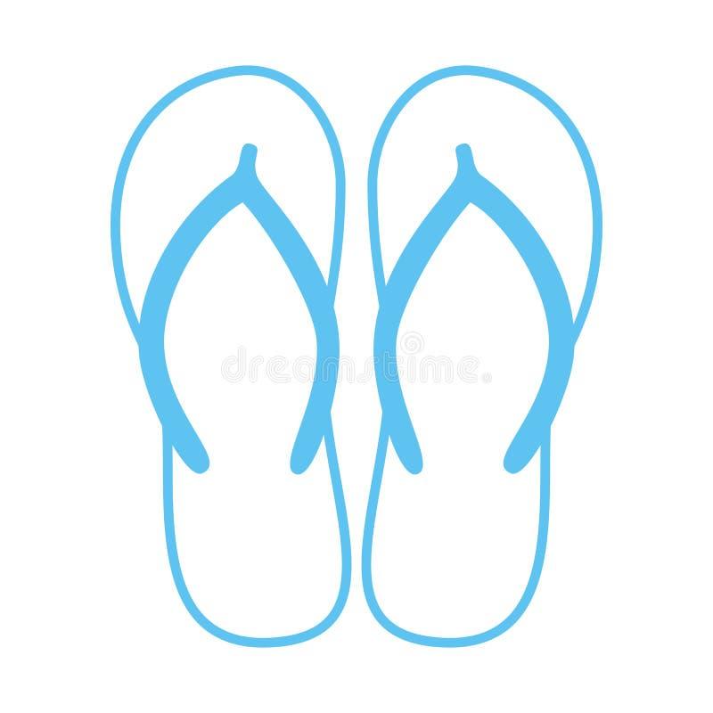 五颜六色的触发器 海滩拖鞋 凉鞋 在白色隔绝的传染媒介象 向量例证