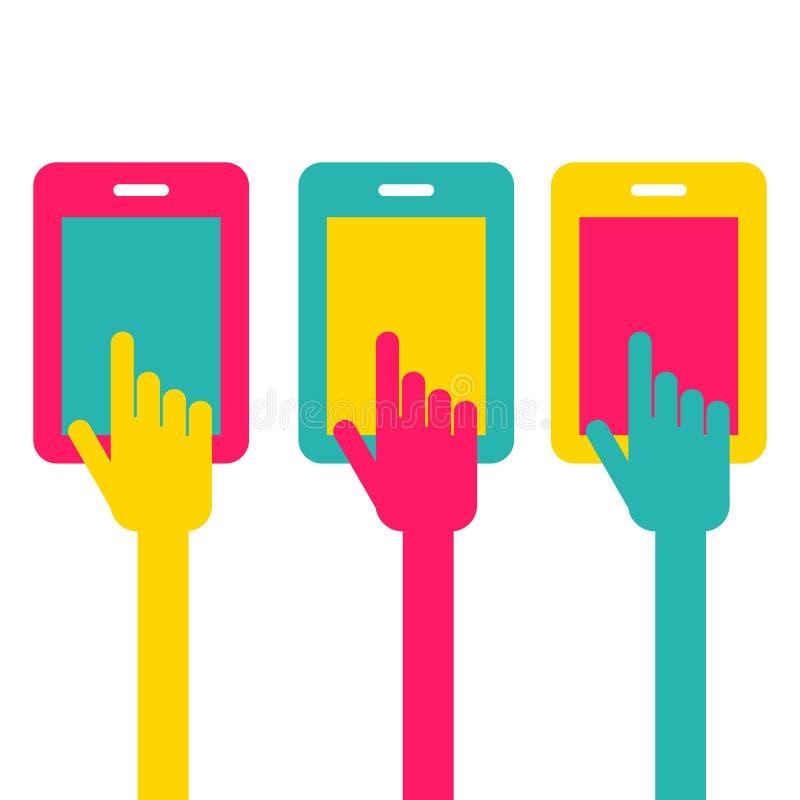 五颜六色的触摸屏智能手机象 手尖标志 Vect 库存例证