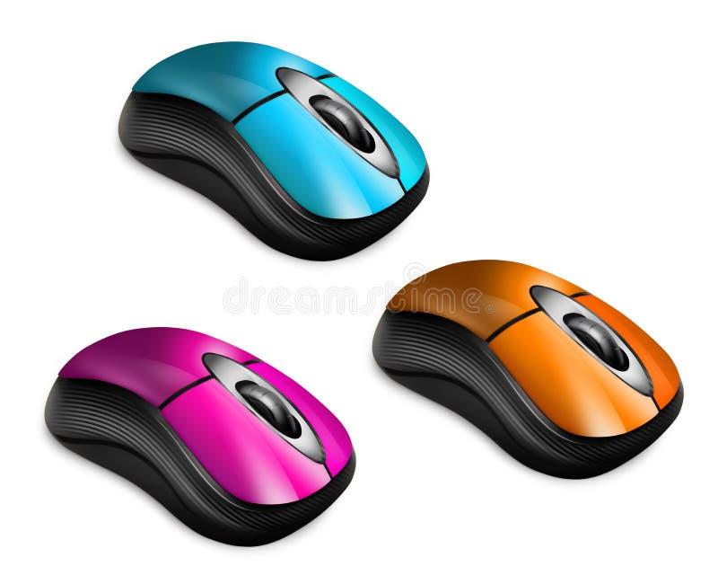 五颜六色的计算机鼠标 皇族释放例证