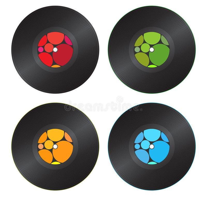 五颜六色的记录乙烯基 免版税库存图片