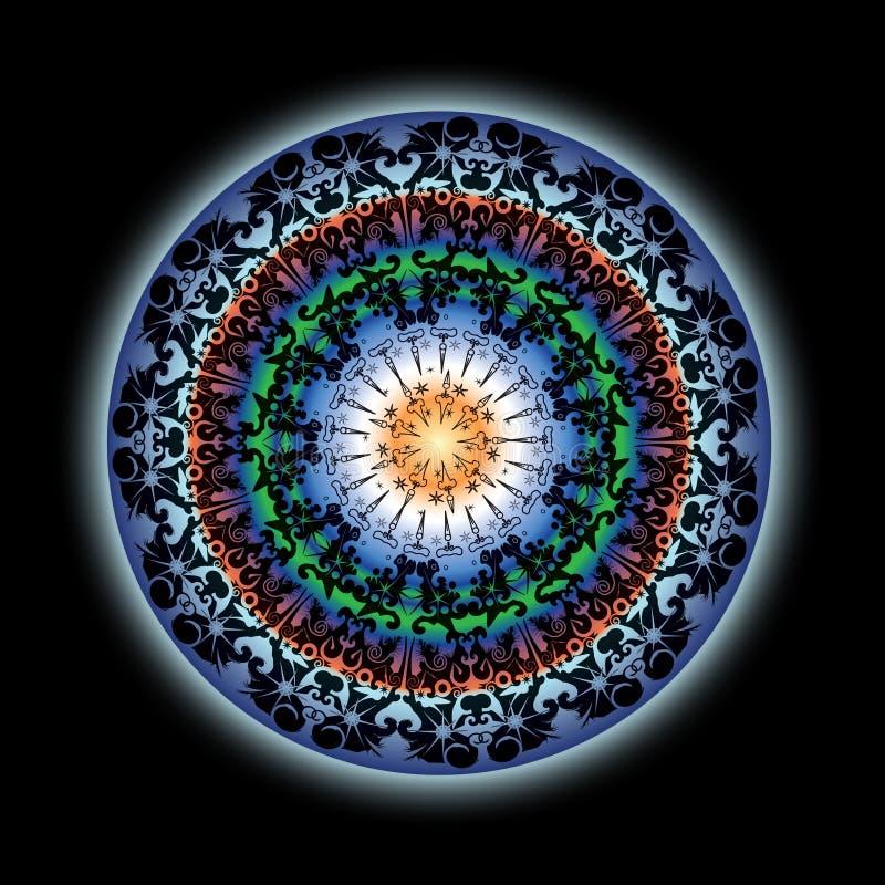 五颜六色的设计印第安莲花坛场 皇族释放例证