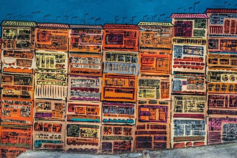 五颜六色的设计图街道墙壁伦敦苏豪区中央香港 免版税库存图片