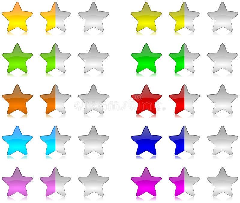 五颜六色的评级集合星形 库存例证