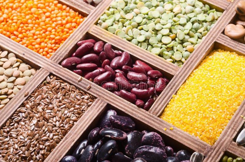 五颜六色的谷物和豆 免版税库存图片