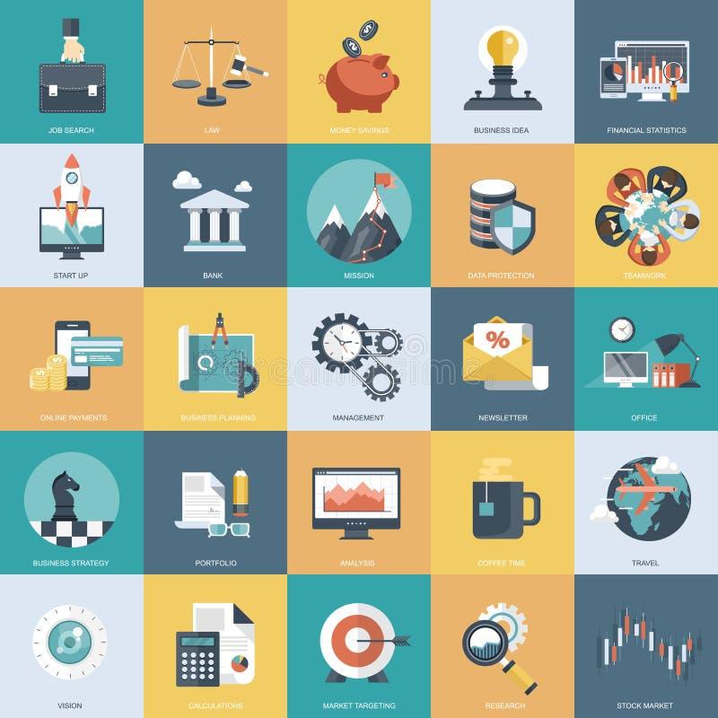 五颜六色的象为事务、管理、技术和财务设置了 网站和流动应用程序的平的对象 向量例证