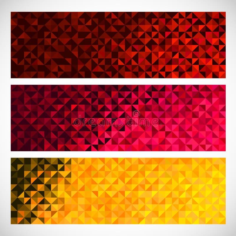 五颜六色的象素背景 传染媒介套抽象马赛克横幅 向量例证