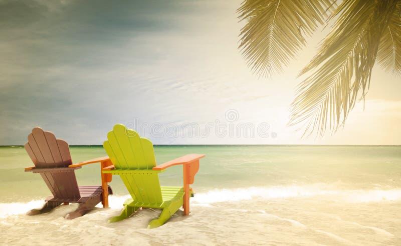 五颜六色的躺椅全景在一个热带天堂海滩的在迈阿密佛罗里达 免版税库存图片