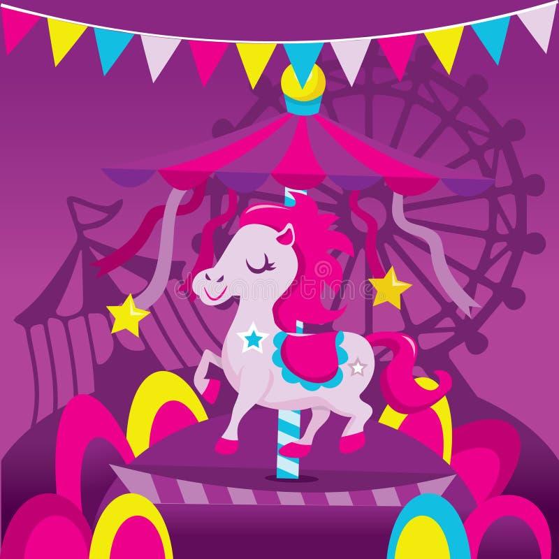 五颜六色的转盘马乐趣狂欢节场面 库存例证