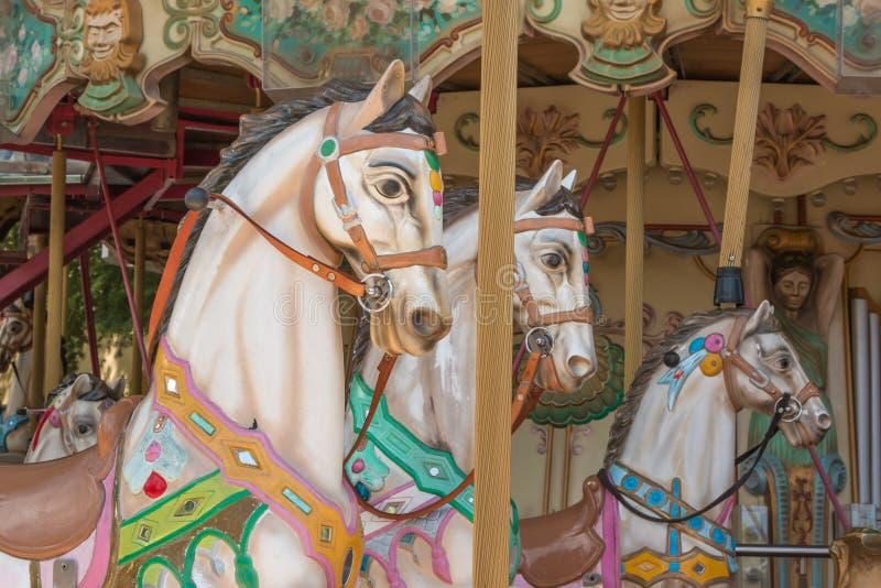 五颜六色的转盘马在假日公园,旋转木马马 免版税图库摄影