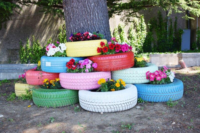 五颜六色的轮胎和花 免版税图库摄影