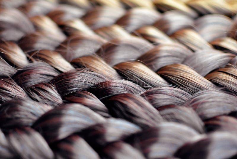 五颜六色的辫子关闭,辫子用不同的颜色:黑褐色 免版税库存照片